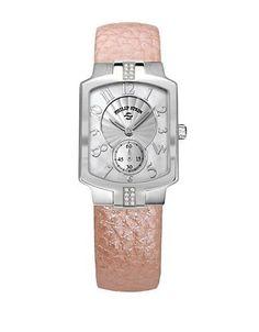 Philip Stein Ladies Sport Watch with Rose Leather Strap Women's Silver