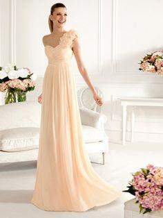 A-line/Princess 1-Schulter Ärmellos Handgemachte Blume Floor-length Chiffon Brautjungfernkleider