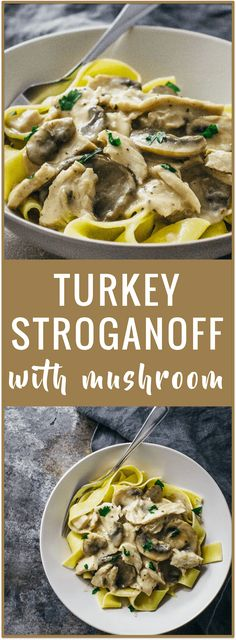 Turkey stroganoff with mushroom - Try this simple recipe for turkey stroganoff -- shredded turkey meat with sliced mushrooms in a creamy sauce served over egg noodles. turkey recipe Turkey stroganoff with mushroom - Savory Tooth Turkey Stroganoff, Stroganoff Recipe, Leftover Turkey Recipes, Leftovers Recipes, Turkey Leftovers, Turkey Meat Recipes, Pasta Recipes, Chicken Recipes, Cooking Recipes