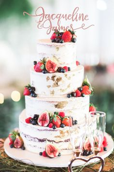 Don't want this size but love design - Semi naked wedding cake with gold foil and fresh berries | Two Peaches Photography