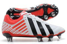Adipower Kakari Wide Fit SG Rugby Boots White/Black/Red Adidas Rugby Boots, Adidas Predator, All Blacks, Easy Jobs, Wedge Heels, Air Max Sneakers, Stylish, Boots