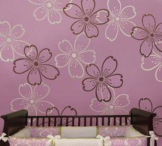 Stencils Flower Power 2 pc LG - Reusable stencils better than wallpaper - DIY decor   $34.95