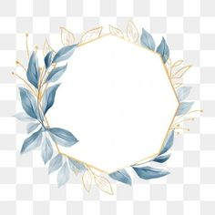 Elegant geometric floral frame with blue leaves for wedding or greeting card PNG and PSD Motif Floral, Floral Border, Watercolor Background, Watercolor Flowers, Frame Floral, Flower Frame Png, Illustration Blume, Wedding Frames, Free Vector Graphics