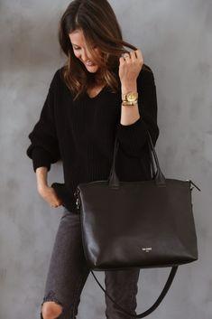 Leather work bag for women, minimalist design, laptop bag #Daame