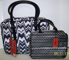 Target Missoni Tote Luggage & Cosmetic Bag BLACK WHITE Zigzag NEW