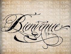 Antique Paris France Bienvenue Welcome Word by AntiqueGraphique Welcome Words, Paris Illustration, Paris Love, Old Postcards, Fashion Prints, Paris France, Ephemera, Burlap, Typography