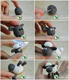 Shaun the Sheep from fondant tutorial Polymer Clay Animals, Fimo Clay, Polymer Clay Projects, Shaun The Sheep Cake, Timmy Time, Fondant Animals, Sheep Fondant, Sheep Cupcakes, Farm Cake