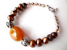 Brown pearl bracelet yellow chalcedony gemstone by StarJewels, $24.00