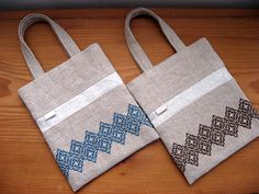 Embroidery Bags, Jute Bags, Cotton Bag, Shibori, Pattern Design, Couture, Cross Stitch, Arts And Crafts, Reusable Tote Bags