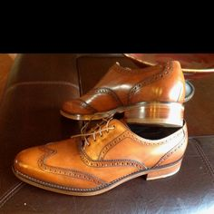 Cole Haan Air Madison wingtips. British calf tan color