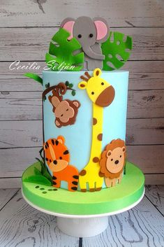 Torta Animalitos de la selva Cake jungle animals #easyboybirthdaycakes