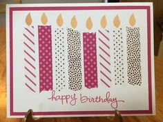 Quick and Easy Birthday Card with Candles and Washi Tape