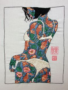 Girl, embroidery series by Jessica So Ren Tang.