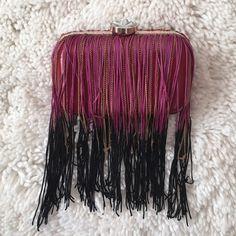 Spotted while shopping on Poshmark: Gorgeous purple & black tassel clutch NWOT! #poshmark #fashion #shopping #style #Topshop #Handbags