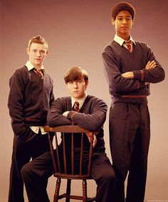 Harry Potter and the Order of the Phoenix promo shot of Matthew Lewis, Devon Murray & Alfie Enoch La Saga Harry Potter, Images Harry Potter, Harry Potter Cast, Harry Potter Books, Harry Potter Love, Harry Potter Universal, Harry Potter Fandom, Harry Potter Characters, Dean Thomas Harry Potter