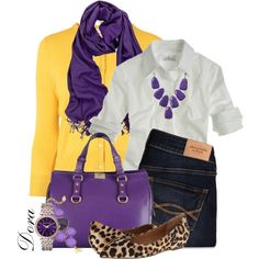 A fashion look from November 2014 featuring white top, yellow shirt and blue jeans. Browse and shop related looks. Stylish Outfits, Cute Outfits, Fashion Outfits, Womens Fashion, Color Wheel Fashion, Merian, Fashion Capsule, Clothes For Women, My Style