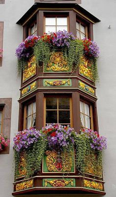 color and architecture and these amazing window boxes in Rottweil, Baden-Wurttemberg, Germany This is what I loved about Europe. The window boxes. Porches, Beautiful World, Beautiful Places, Beautiful Gorgeous, Beautiful Flowers, Absolutely Gorgeous, Window Boxes, Window Sill, Flower Boxes