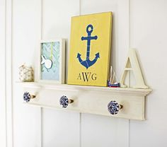 Hamptons Peg Rack | Pottery Barn Kids ~ pretty sure I can make this with cute nobs!!