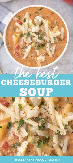 An easy Cheeseburger Soup Recipe you'll love! Keto, paleo and Whole30 friendly. Healthy & made in the crockpot, instant pot or on the stove! No velveeta - only real, delicious cheese! Healthy Beef Recipes, Healthy Meal Prep, Healthy Soups, Healthy Eating, Whole30 Recipes, Lunch Recipes, Meat Recipes, Free Recipes, Healthy Food