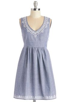 Antique Boutique Dress. Hunt for trinkets and knickknacks in this lighthearted chambray dress! #blue #modcloth
