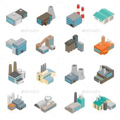 Industrial Building Factory Icons — Photoshop PSD #isometric #energy • Available here → https://graphicriver.net/item/industrial-building-factory-icons/14684456?ref=pxcr