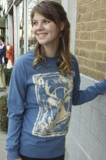 Women's T-shirt blue - long sleeve - spring style fashion @ Black Bear Trading Asheville N.C.