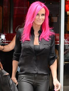 "Star Tracks: Wednesday, July 15, 2015 | THINKING PINK | Jenny McCarthy shows off her new bright pink do – which her husband Donnie Wahlberg thinks ""look[s] beautiful"" – as she leaves a restaurant in N.Y.C. on Tuesday."