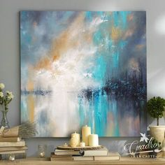 Vibrant Blue Glitter Metallic Art Painting Acrylic Original Art on Canvas by Ora Birenbaum Titled: Dazzling Blue Abstract Art Painting, Art Painting, Painting, Amazing Art Painting, Art Painting Acrylic, Abstract Canvas Art, Art, Painting Art Projects, Abstract