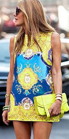Oh wow! Yellow & blue mini dress <3 love this!