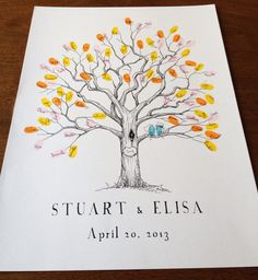 XS Twisted Oak, The original hand-drawn wedding guest book fingerprint tree (ink pads sold separately)