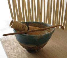 Bamboo whisk and tea scoop for Japanese tea ceremony