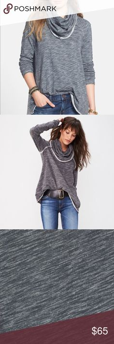 NWOT 'Beach Cocoon' Cowl Neck Pullover Never used & in perfect condition - Heathered cotton and a lushly draped cowl neckline soften this raglan-sleeve pullover casually styled with exposed-seam details and contrast trim. Free People Sweaters Cowl & Turtlenecks