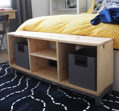 DIY IKEA Bench. This bench looks almost exactly like the IKEA Nornas Bench with Storage Compartments. IKEA sells for $199. DIY for $30. Full tutorial!