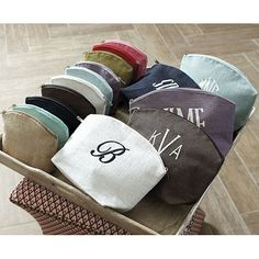 These monogrammed jute cosmetic bags are perfectly pretty and come in 10 colors. (Is your daughter in school? Get her a set of these so she can store her pens and pencils!)
