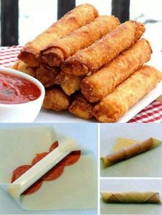 Fried Mozzarella Pepperoni Egg Rolls ✿ 12 pieces of string cheese ✿ 12 egg roll wrappers ✿ 36 slices of pepperoni ✿ Oil for deep-frying ✿ Marinara or pizza sauce