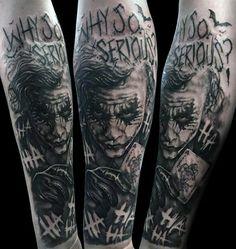 50 Cool Joker Tattoos for Guys - Sleeve - Tattoo Arm Mann, J Tattoo, Forarm Tattoos, Forearm Sleeve Tattoos, Best Sleeve Tattoos, Mom Tattoos, Tattoo Sleeve Designs, Arm Tattoos For Guys, Tattoo Designs Men