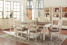 Dine in comfort and beauty when you choose the Bolanburg White and Gray Rectangular Dining Room Set. This Signature Design by Ashley dining room furniture has an attractive white weathered oak finish over oak and acacia veneers. White Dining Room Sets, Cheap Living Room Sets, White Dining Table, Dining Room Colors, Dining Room Bar, Dining Room Design, Dining Room Furniture, Dining Rooms, Kitchen Tables