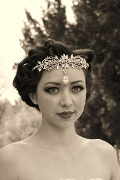 front sitting bridal headdress