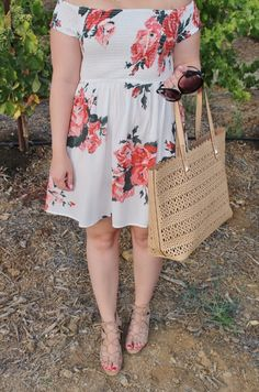 Shop tobi OTS dress for Summer with nude accessories