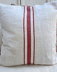 Antique French Grainsack Linen Pillow Red Ticking-Vintage,textile,heirloom, hand woven,ticking,red,