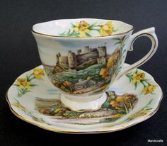 Royal Albert UK Tea Cup & Saucer Castle Scene Men of Harlech British Songs Vintage