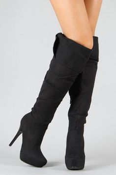 e2d1429fc3cec7 Sheryl-07 Suede Cuff Slouchy Knee High Boot Black Knees