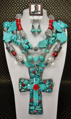 TRIPLE STRAND TURQUOISE Statement by CayaCowgirlCreations on Etsy, $175.00