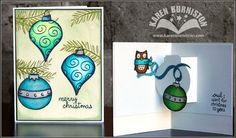Owl Christmas Card using Lawn Fawn Stamps and Sizzix Pop 'n Cuts Base Die