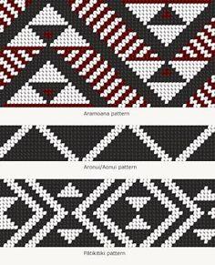 Tāniko designs – Māori weaving and tukutuku – te raranga me te whatu – Te Ara Encyclopedia o Weaving Designs, Weaving Patterns, Knitting Patterns, Maori Designs, Flax Weaving, Weaving Art, Maori Patterns, Style Patterns, Crochet Stitches