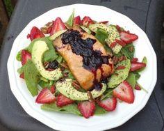 Spring Blueberry Salmon Salad - 5oz salmon, blueberries, balsamic vinegar, avocado, strawberries, walnuts. goji berries and chia seeds optional