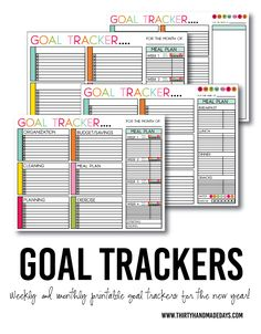 Printable Goal Trackers - sheets to help you track your goals for the new year. Or any time of year! Featuring weekly and monthly, blank and with titles Budget Organization, Household Organization, Recipe Organization, Printable Organization, Printable Planner, Free Printables, Home Binder, Getting Organized, Tricks