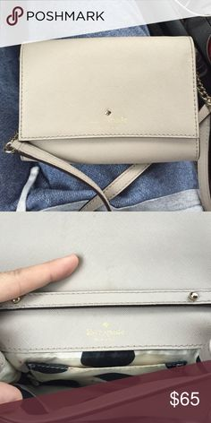 Kate spade satchel! Grey kate spade cross body bag with white/black polka dot interior! Perfect to match any outfit! kate spade Bags Crossbody Bags