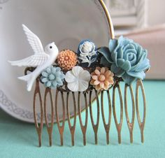 Wedding Hair Comb Dusty Blue White Fall Winter Bridesmaids Gift Bridal Hair Piece Floral Head Piece Bird Flowers Vintage Inspired Fall Trend by Jewelsalem