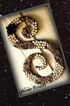 Monogram Letter S  decorated with cream and rock by StoneFrenzy, $85.00